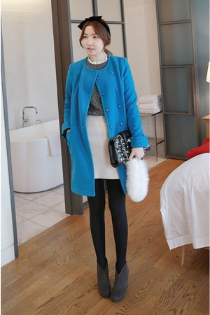 MIAMASVIN boots - blue MIAMASVIN coat - heather gray MIAMASVIN sweater