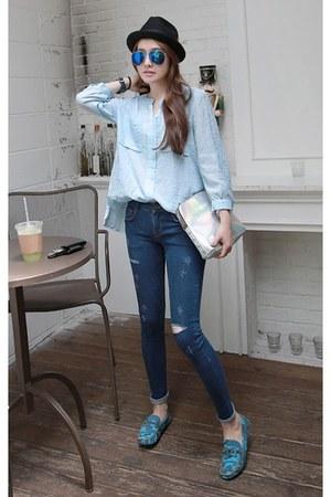 navy MIAMASVIN jeans - light blue MIAMASVIN shirt - sky blue MIAMASVIN loafers
