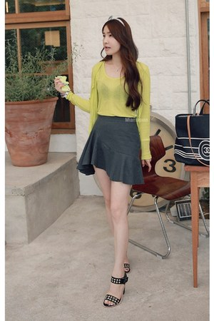 charcoal gray MIAMASVIN skirt - lime green MIAMASVIN top