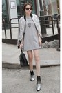 heather gray MIAMASVIN dress - white MIAMASVIN jacket - black MIAMASVIN bag