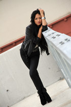 black Jeffrey Campbell boots - black sass & bide jeans - black gripp jacket - iv