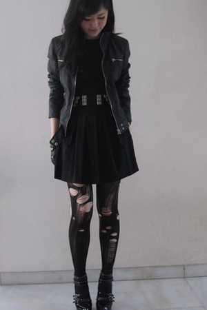 black Zara jacket - black Mollini shoes - black aliceolivia dress