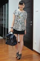 blue Zara shirt - black Zara skirt - black kirkwood shoes - blue Mulberry purse