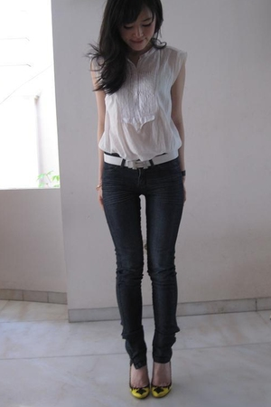 white Zara shirt - yellow Christian Louboutin shoes - blue Ksubi jeans