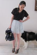 black Kain top - gray Camilla and Marc skirt - black Jimmy Choo shoes - blue Mul