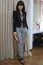 ray cassin top - warehouse blazer - tailored pants - River Island shoes - Miu Mi