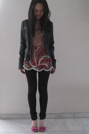 Zara jacket - Jill Stuart top - sass&bide leggings - Christian Louboutin shoes