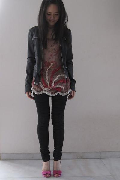 Zara jacket - Jill Stuart top - sass&bide leggings - Christian Louboutin shoes