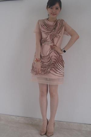 pink tailored dress - beige Christian Louboutin shoes - pink Miu Miu accessories
