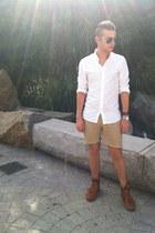 white H&M shirt - tan diy JCrew shorts - aviator Ray Ban sunglasses