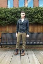 black biker 31 Phillip Lim jacket - brown Prada boots - olive green Levis jeans