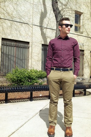navy Celine sunglasses - brown Prada shoes - maroon H&amp;M shirt