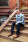 Brown-prada-shoes-levis-jeans-reversed-denim-h-m-margiela-jacket