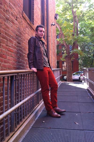 burnt orange H&M pants - brown Colehaan shoes - brown leather Gap jacket
