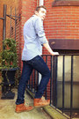 Brown-high-top-coach-sneakers-skinny-levis-jeans-blue-gingham-jcrew-shirt
