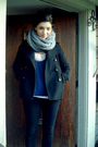 Purple-blouse-gray-bluenotes-scarf-black-gap-coat-black-sirens-pants-whi