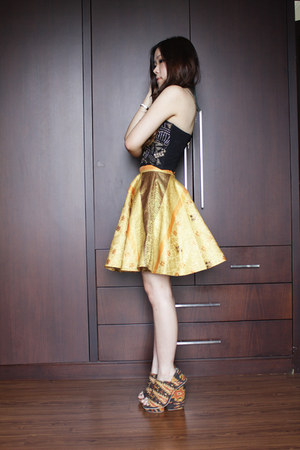 gold songket Icorisio skirt - black studded Bettina Liano top
