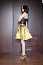 gold songket Icorisio skirt - black studded Bettina Liano top