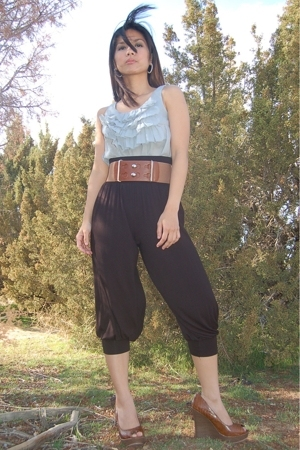exhiliration target top - f21 belt - f21 pants
