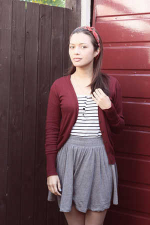 brick red Primark cardigan - white JayJays shirt - silver H&M skirt