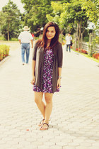 purple floral dress Forever 21 dress - heather gray from greenhills cardigan