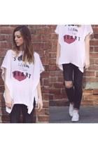 gray denim All Saints jeans - white cotton Love Nail Tree blouse