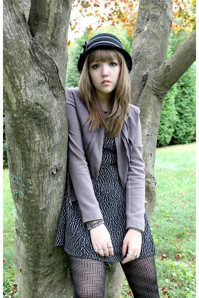 Cracker Barrel hat - black and white Silence  Noise dress - Gap jacket