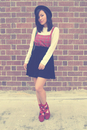 plaid overall DIY top - vintage top - Debenhams shoes - Forever21 hat - socks