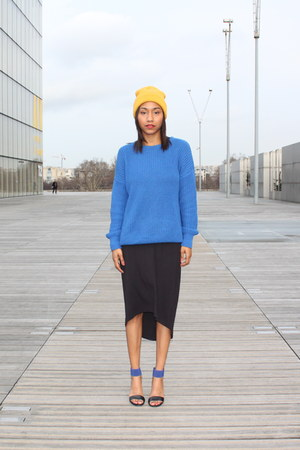 blue American Apparel sweater - black calvin klein dress - yellow H&M hat