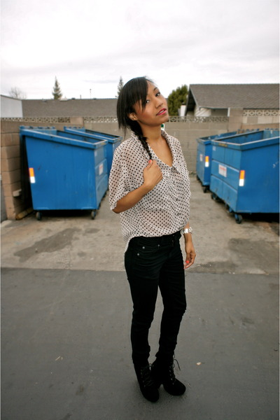 thrift blouse - ecote boots - Cheap Monday jeans