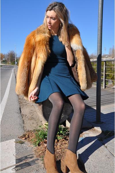 dark khaki vintage coat - brown Zara boots - teal Miss Selfrige dress