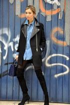 Zara coat - Zara boots - green coast shirt - christian dior bag
