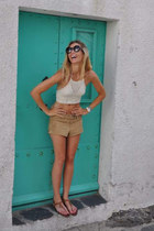 ivory crochet top - camel Etxart & Panno shorts - black Zara sunglasses