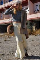 white vintage hat - dark brown Uterqe boots - camel Zara coat