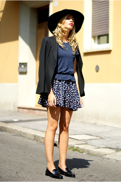 black H&M hat - navy Yes Style dress - black Zara blazer - black Office loafers