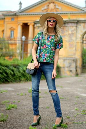 green romwe shirt - dark khaki tbdress bag - orange zeroUV sunglasses