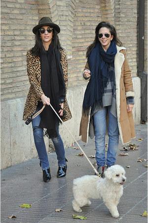 brown Naf Naf coat - mustard Mango coat - black Zara boots - navy kosiuko jeans