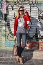 red bonaventura blazer - navy Zara leggings - brown Louis Vuitton bag