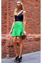 green Zara skirt - black Zara shirt