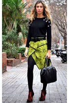 black Uterque bag - yellow Front Row Shop skirt