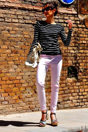 light pink Zara pants - white YSL bag - black Celine sunglasses