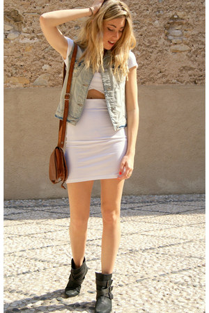 black Zara boots - white Topshop dress - periwinkle Zara vest