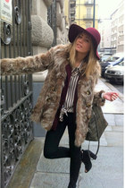 crimson Pier Cardin blazer - light brown vintage coat - black Zara jeans