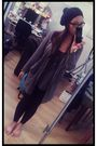 Black-h-m-hat-brown-banana-republic-cardigan-gray-h-m-top-black-tna-leggin