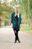 black H&M boots - black vintage dress - dark green Zara blazer