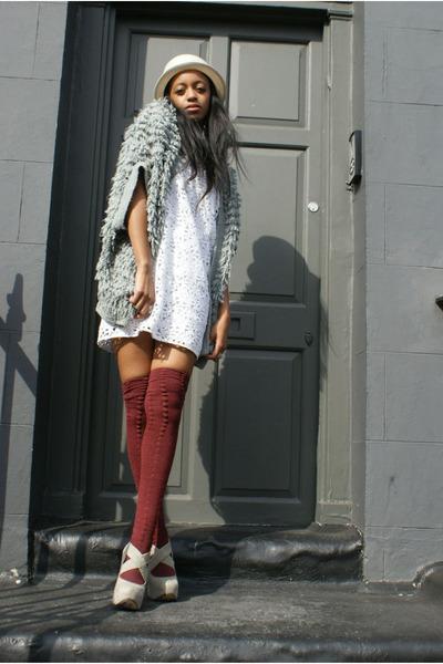 silver red herring cardigan - red American Apparel socks - white cynthia steffe