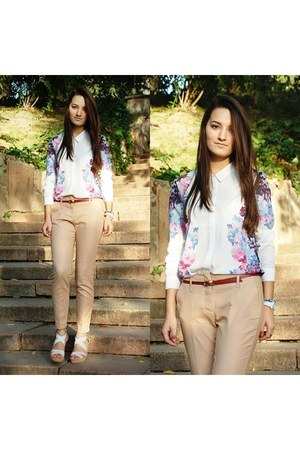 white H&amp;M blouse - camel Zara pants