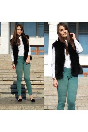 black Zara loafers - white Calliope blouse