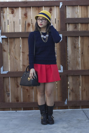 navy cable knit Forever21 sweater - black Jimmy Choo boots