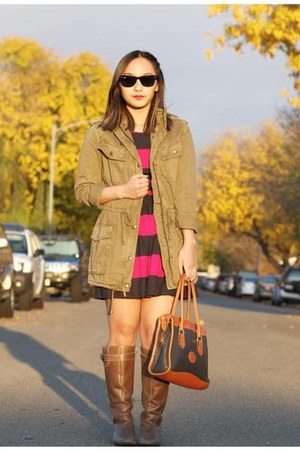 olive green Talula jacket - navy striped abercrombie and fitch dress